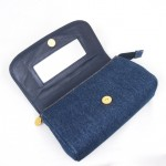 Vintage Chanel Blue Jean Clutch Purse With Mirror 2