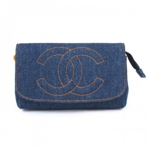 Vintage Chanel Blue Jean Clutch Purse With Mirror