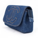 Vintage Chanel Blue Jean Clutch Purse With Mirror 3