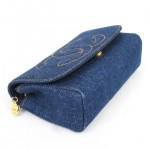 Vintage Chanel Blue Jean Clutch Purse With Mirror 4