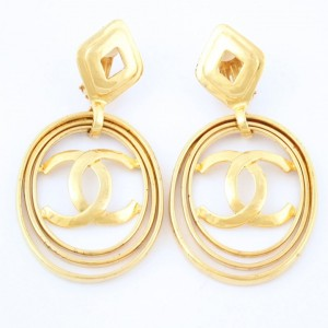 Chanel Large Logo Earrings Hoop 1